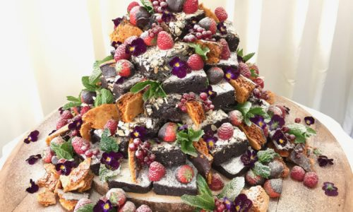 Brownie Tower Wedding Cake - doubles as dessert!